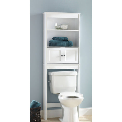 Hawthorne Place White Wood Spacesaver Bathroom Shelf - Shopatronics