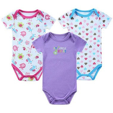 3Pcs/Lot Baby Rompers Short Sleeve 100% Cotton Newborn Baby Clothes Babies Jumpsuits - Shopatronics - One Stop Shop. Find the Best Selling Products Online Today