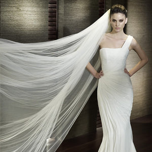 Wedding Veil 3 Meters Long Soft Bridal Head With Comb One-layer Lace Veil Ivory White - Shopatronics