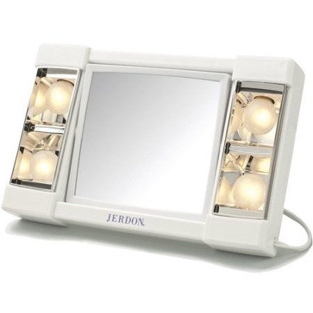 "Jerdon 6"" Portable Tabletop 2-Sided Swivel Lighted Makeup Mirror with 3x Magnification, White - Shopatronics"