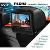 Pyle Headrest Vehicle 9'' Video Display Monitor, CD/DVD Player, USB/SD Readers, HDMI Port (Black) - Shopatronics