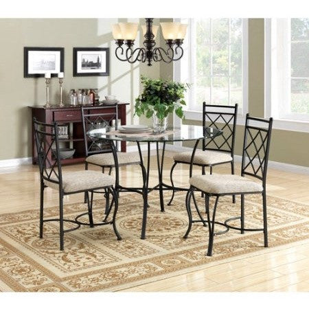 Mainstays 5-Piece Glass Top Metal Dining Set - Shopatronics
