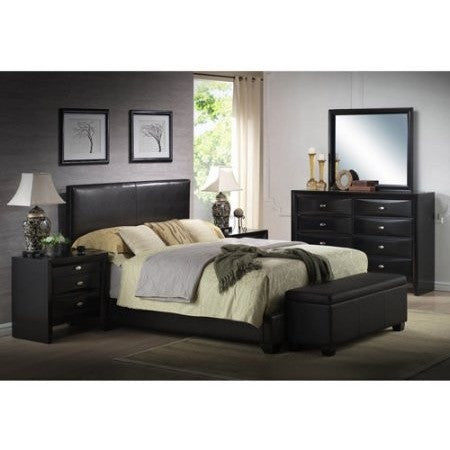 Ireland Queen Faux Leather Bed, Black - Shopatronics