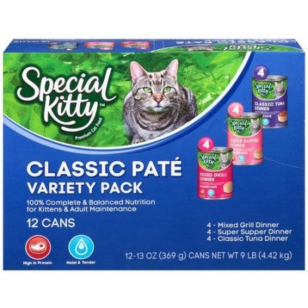Special Kitty Classic Pate Variety Pack Wet Cat Food, 13-Ounce Cans (Pack of 12) - Shopatronics