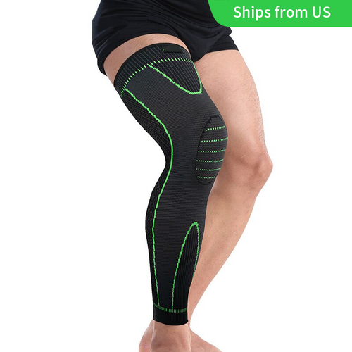1PC Mumian S33 Classic Black And Green Knitted Thermal Lengthen Sports Kneecaps