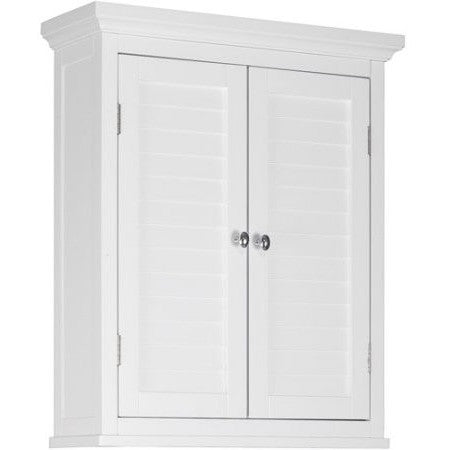 Elegant Home Fashions Sicily Wall Cabinet 2 Shutter Doors, White - Shopatronics