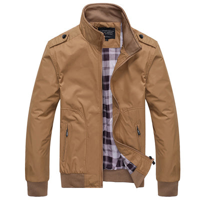 Men Jackets Spring Autumn Casual Coats Solid Color Sportswear