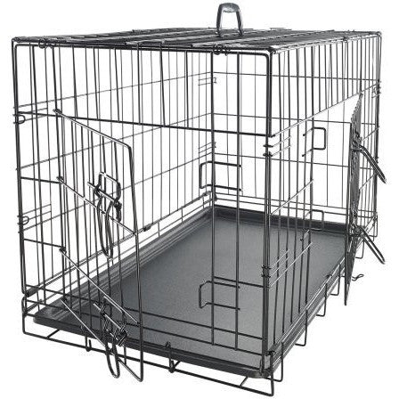 "OxGord 48"" Dog Crate with Divider, Double-Doors Folding Pet Cage with Heavy Duty Metal Wires and Removable ABS Plastic - Shopatronics"