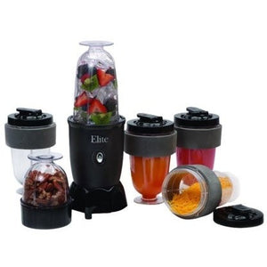 Elite Cuisine 17-Piece Personal Drink Blender with (4) 16-oz Travel-Cups - Shopatronics