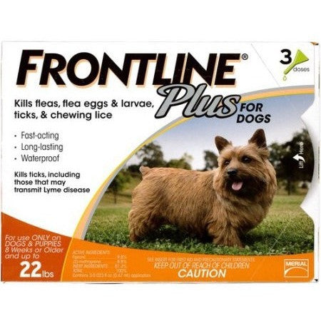 Frontline Plus Flea and Tick Control for Small Dogs 8 weeks or older and Up to 22 lbs., 3ct - Shopatronics