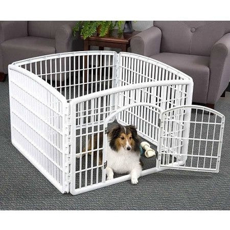 "IRIS 4 Panel Indoor/Outdoor Pet Pen Containment W35""xL35""xH24"", White - Shopatronics"