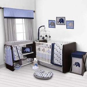 Bacati Elephants 10-Piece Nursery in a Bag Crib Bedding Set with Bumper Pad, Blue/Gray for US standard Cribs - Shopatronics - One Stop Shop. Find the Best Selling Products Online Today