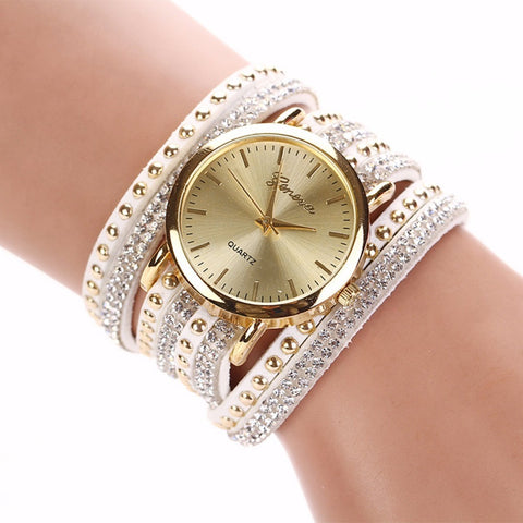 8 Colors New Arrival  luxury brand Casual Women's Watches PU Leather Korean Crystal Rivet Bracelet Watch Girls ladies Watches - Shopatronics - One Stop Shop. Find the Best Selling Products Online Today