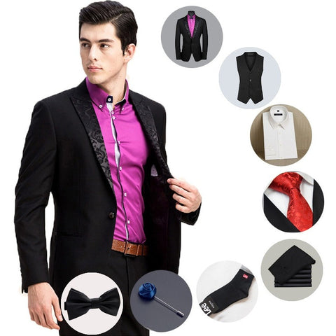 8 Pieces Wedding Suits For Men Groom Black Suits Blazer Elegant Business Men Suit Formal Jacket With Pants+Vest+Ties+Shirts - Shopatronics - One Stop Shop. Find the Best Selling Products Online Today