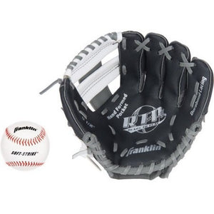 "Franklin Sports 9.5"" Tee Ball Recreational Glove with Ball, Black/Graphite/White, Right-Handed Thrower - Shopatronics"