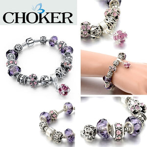 Crystal Charm Bracelets for Women With Purple Murano Glass Beads - Shopatronics - One Stop Shop. Find the Best Selling Products Online Today