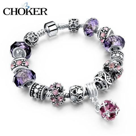925 Silver Crystal Charm Bracelets for Women With Purple Murano Glass Beads bracelets & bangles Love DIY Jewelry Bracelet Femme - Shopatronics - One Stop Shop. Find the Best Selling Products Online Today
