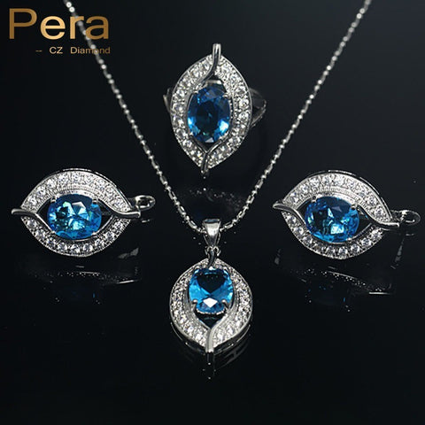 925 Sterling Silver Jewelry Sets For Women 11 Colors CZ Diamond Wedding African Bridal Simulated Gemstone Jewerly Set J004 - Shopatronics - One Stop Shop. Find the Best Selling Products Online Today