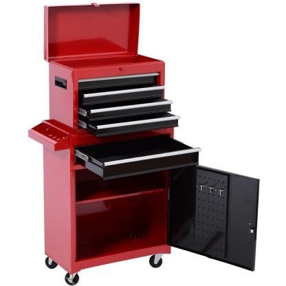 HomCom Rolling Tool Cabinet Chest with 5 Drawers and Removable Tool Box - Red - Shopatronics