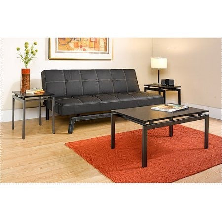Hometrends 3 Piece Coffee & End Tables Set, Dark Gray/Black Ash - Shopatronics
