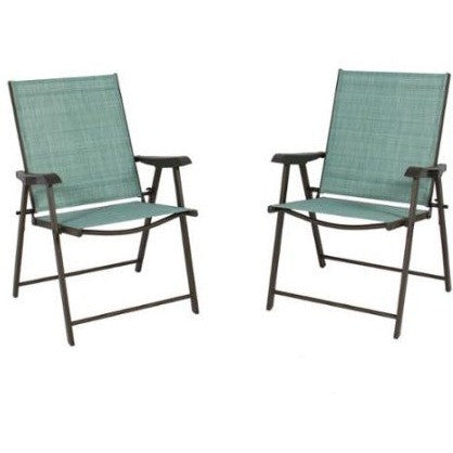 Set of 2 Folding Chairs Sling Bistro Set Outdoor Patio Furniture Space Saving - Shopatronics