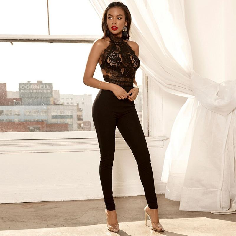 Black Backless Bodycon Jumpsuit - SHOPPLEHUB