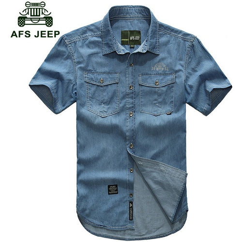 AFS JEEP Plus size M- 5XL 2016 European cowboy style men's cool summer casual brand 100% cotton short shirts man blue shirt 3018 - Shopatronics - One Stop Shop. Find the Best Selling Products Online Today