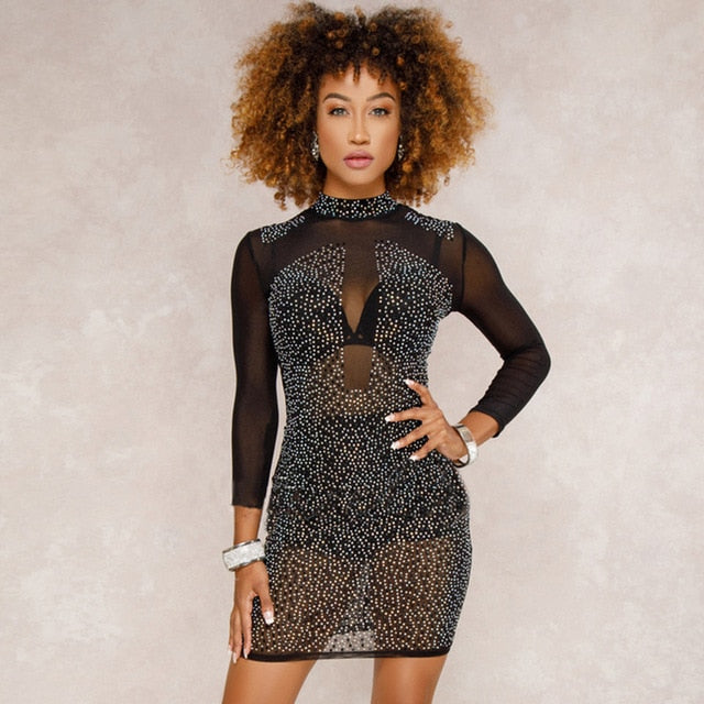 Mesh Hot Drilling Long-sleeved Sexy Perspective Dresses