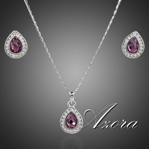AZORA Big Pear White Gold Plated Stellux Austrian Crystal Necklace and Earrings Jewelry Sets - Shopatronics - One Stop Shop. Find the Best Selling Products Online Today