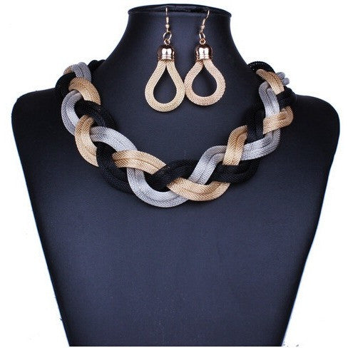African Costume Jewelry Sets Braid Twist Chain Necklace Set Women Bohemian Jewelry Sets Women Jewellery Indian Jewelry - Shopatronics - One Stop Shop. Find the Best Selling Products Online Today