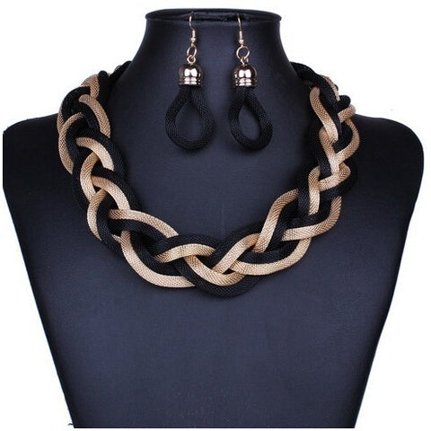 African Costume Jewelry Sets Braid Twist Chain Necklace Set Women Bohemian Jewelry Sets Womens Jewellery Indian Jewerly - Shopatronics - One Stop Shop. Find the Best Selling Products Online Today