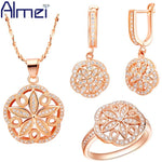 Almei Women Accessories Rose Gold Plated Jewellery Set Hollow Out Flower Crystal Jewelry Earrings 925 Silver Ring Necklaces - Shopatronics - One Stop Shop. Find the Best Selling Products Online Today