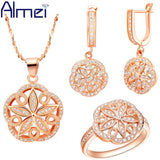 Almei Women Accessories Rose Gold Plated Jewellery Set Hollow Out Flower Crystal Jewerly Earrings 925 Silver Ring Necklaces T144 - Shopatronics - One Stop Shop. Find the Best Selling Products Online Today