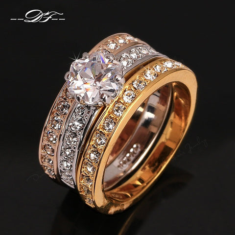 Anti Allergy 3 Rounds CZ Diamond Paved Engagement Rings Sets 18K Rose Gold Plated Crystal Wedding Jewelry For Women Anel DFR107 - Shopatronics - One Stop Shop. Find the Best Selling Products Online Today