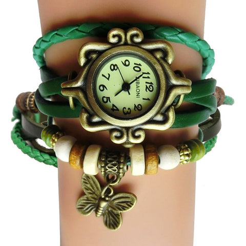 Antique Leather Bracelet Watch Vintage Women Wrist Watch Butterfly Pendant Synthetic Leather Strap dress Watch Relogio Feminino - Shopatronics - One Stop Shop. Find the Best Selling Products Online Today