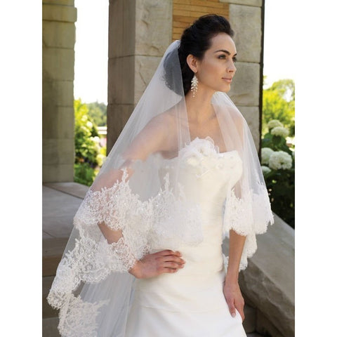 Applique Lace Cheap Bridal veils for Wedding Accessories Hot sale Appliques Lace One layer Wedding veil White Ivory Available - Shopatronics - One Stop Shop. Find the Best Selling Products Online Today