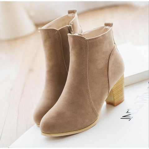 Autumn and winter short cylinder boots with high heels boots shoes Martin boots women ankle boots with thick scrub A547 - Shopatronics - One Stop Shop. Find the Best Selling Products Online Today
