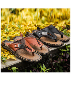 High Quality Handmade 100% Cow Genuine Leather Sandals Men Fashion Brand Shoes Men's Sandals Summer Slippers Beach