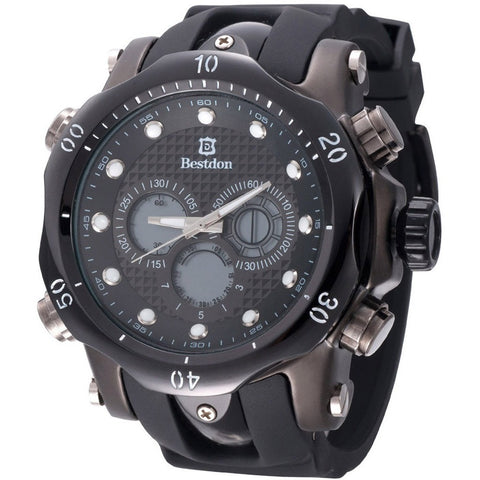 BESTDON Fashion Black Men's Quartz&LED Electronics Dual Time Display Wrist Watch Silicone Sport Watch Men Wristwatch Gift reloj - Shopatronics - One Stop Shop. Find the Best Selling Products Online Today