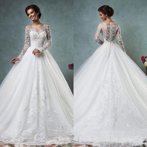 Ball Gown Wedding Dresses 2016 Scoop Neck Long Sleeve Button Sweep Train Tulle and Lace Custon Made Bridal Gown Dress Romantic - Shopatronics - One Stop Shop. Find the Best Selling Products Online Today
