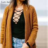 BeAvant Charcoal sexy v neck Autumn knitted tops women pullover Lace up elastic cross OL sweater slim long sleeve tops - Shopatronics - One Stop Shop. Find the Best Selling Products Online Today