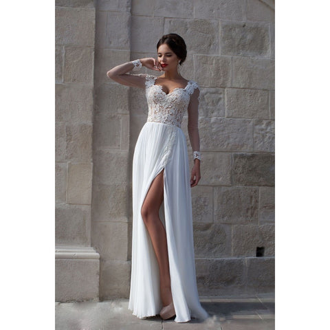 Beach Wedding Dresses Simple 2016  Long Sleeve Chiffon Split Side A Line Bridal Gowns - Shopatronics - One Stop Shop. Find the Best Selling Products Online Today