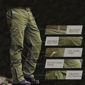 Airborne Jeans Casual Plus Size Cotton Breathable Multi Pocket Cargo Pants