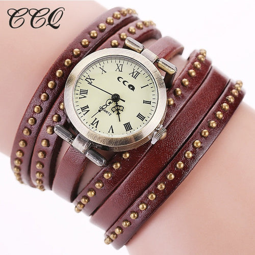 CCQ Vintage Rivet Leather Bracelet Watches Fashion Women Quartz Watches Ladies Quartz Watch Reloj Mujer Relogio Feminino 1158 - Shopatronics