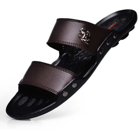 Casual famous brand new men sandals shoes slippers summer flip flops Beach Men Shoes Leather Sandalias Zapatos hombre - Shopatronics - One Stop Shop. Find the Best Selling Products Online Today