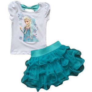 Children's Suit 2016 New Girls  Princess  Dress + T shirt 2 Pcs Set 2-10 Age Layered Tutu Dress Sets Clothing Sets - Shopatronics - One Stop Shop. Find the Best Selling Products Online Today