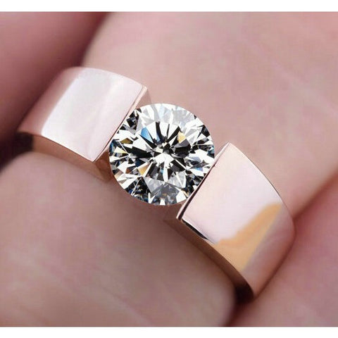 Classic Engagement Ring 18K real rose gold plated AAA  Arrows CZ Diamond lovers promise Ring for men women - Shopatronics - One Stop Shop. Find the Best Selling Products Online Today