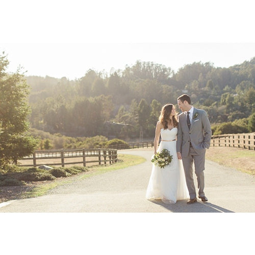 Country Style Sweetheart Tulle A Line Wedding Dress With Gold Belt Wedding Dress - Shopatronics