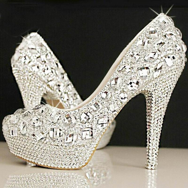 Crystal Bridal Shoes Rhinestone Handmade Female Silver