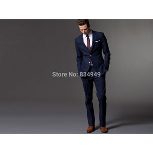 Custom Made Dark Blue Men Suit, Tailor Made Suit, Bespoke Light Navy Blue Wedding Suits For Men, Slim Fit Groom Tuxedos For Men - Shopatronics